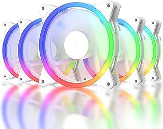 upHere RGB06-5 Lot de 5 ventilateurs de refroidissement pour PC à LED RVB 120 mm Ultra silencieux Haut débit d'air réglabl...