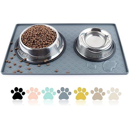 Coomazy Tapis de Nourriture pour Chats et Chiens M/L, Bords surélevés de 1 cm, Antidérapant Tapis de Plateau pour Aliments pour Chats