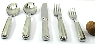 Posate acciaio e peltro eleganti. Set 5 Posate incise con il tuo nome, incredibili Made in Italy