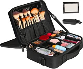 Large Makeup Bags for Women, Travel Cosmetic Makeup Train Case with Mirror, Waterproof Toiletry Organizer Bag with Adjustable Divider Professional Portable Storage Bag 16.5 Inch Black