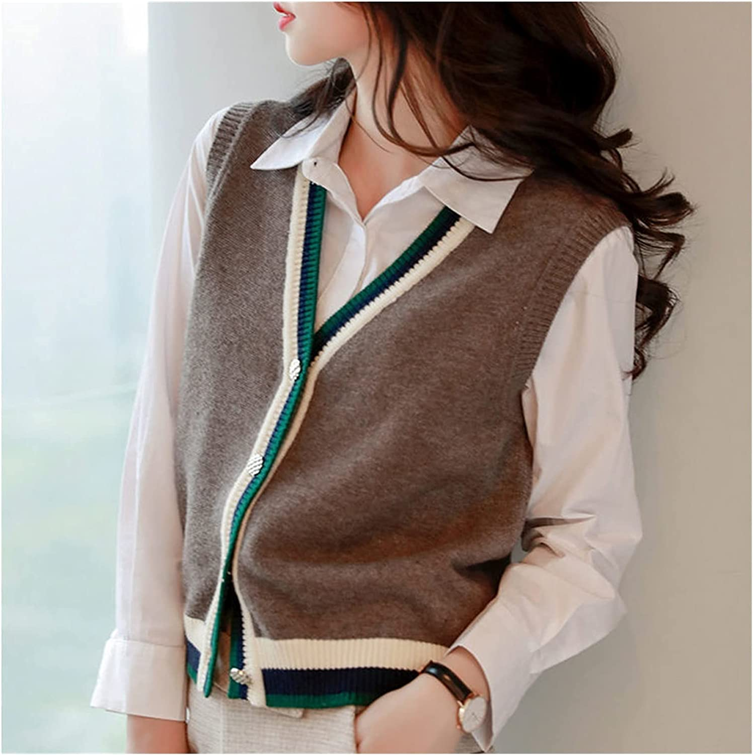 EEKLSJ Sweater Vest, Blouse Loose Trendy Korean Style Sleeveless Knitted V-Neck All-Match Female Coats Simple Leisure Outwear (Color : A, Size : XXL Code)