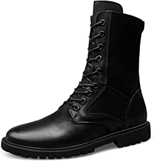 Men's High-top Leather Boots, Outdoor Hiking Tactical Boots, Warm, Non-slip Work Boots, Suitable for Camping and Hunting