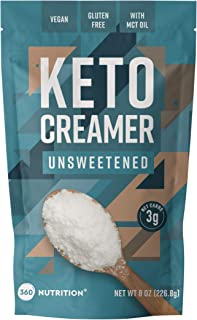 360 Nutrition Keto Creamer with MCT Oil   Unsweetened   Dairy Free Coffee Creamer Milk Subsute   Weight Loss, Energy, Fat ...
