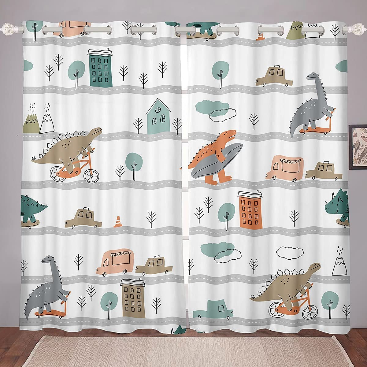 Dinosaur Window Curtains El Paso Mall Skateboard Challenge the lowest price Car Kids Boy Curtain for Bus