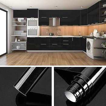 KINLO Folie Küche Schwarz 10x10cm (10㎡) aus hochwertigem PVC