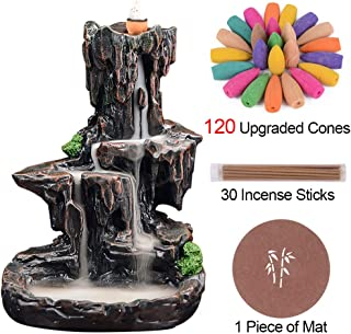 SPACEKEEPER Waterfall Monk Backflow Incense Burner Mountain Tower Incense Holders with..