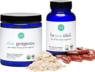 Ora Organic Collagen Boosting Powder & B Vitamins Capsules Bundle - Offers Key Vitamins, Pea Protein, Silica and More to S...