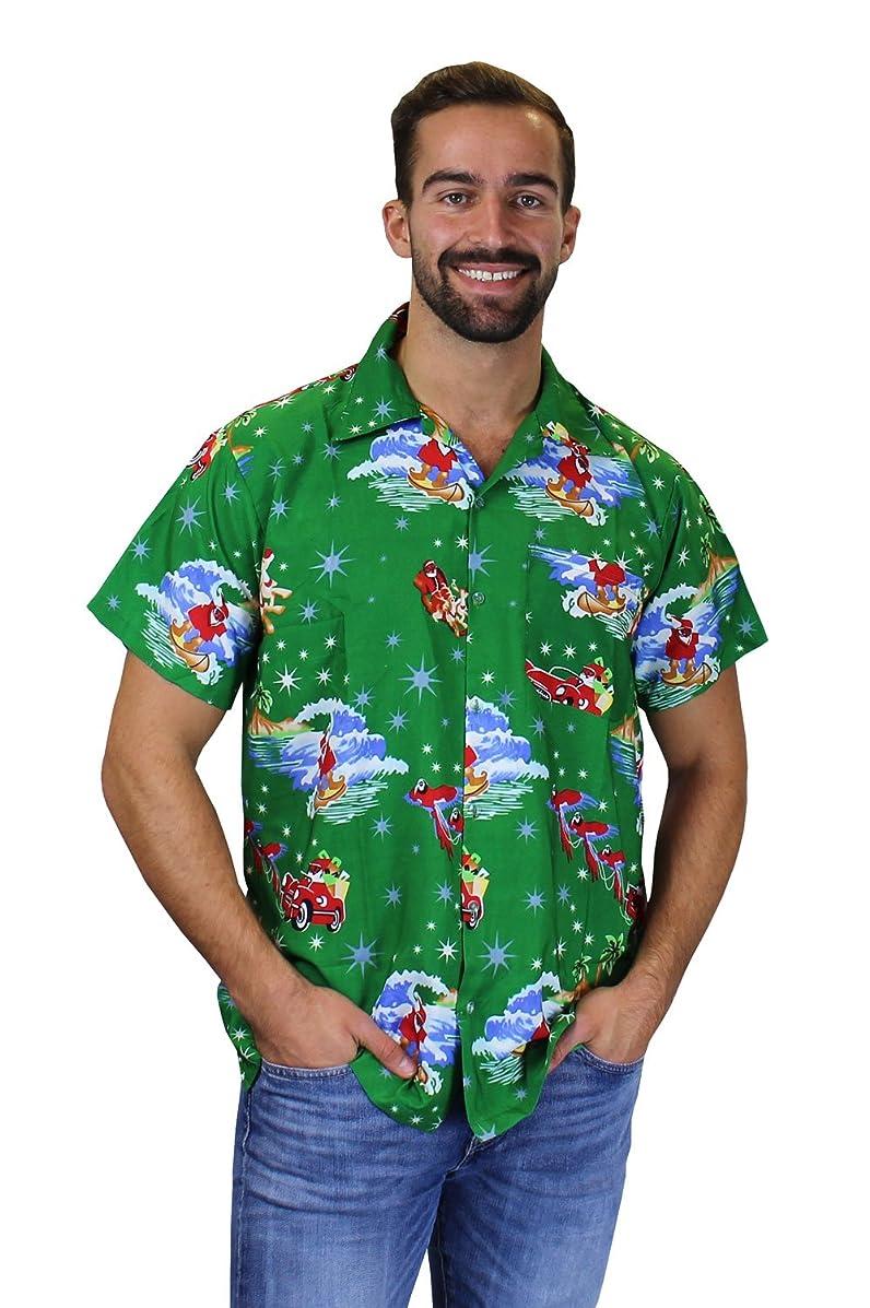 OH Funky Hawaiian Shirt For Men Short Sleeve Front-Pocket Christmas Santa X-Mas Multiple Designs