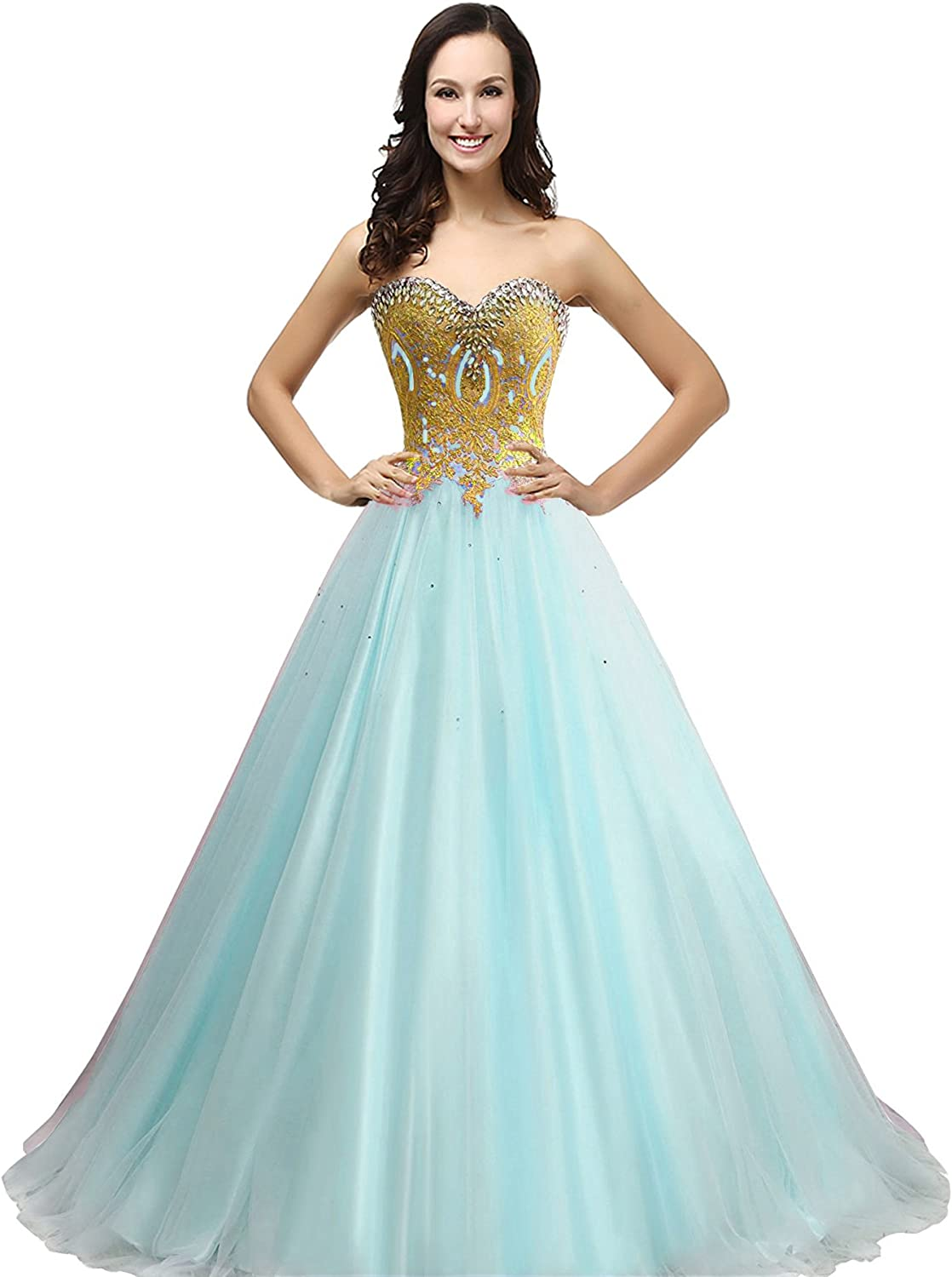 Lemai Tulle gold Lace Crystals Ball Gown Long Corset Prom Wedding Dresses