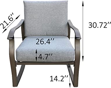 WHNB Outdoor Metal Patio Rocking Chair, Rocker Set with Chair and Table,for Garden,Porch, Deck, Poolside,with Weather-Resista