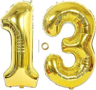 Huture 2 Globos Número 13 Figuras Globo Inflable de Helio Globos Grandes de Aluminio Mylar Globos de Oro Gigantes Número Globos 40 Pulgadas para Fiesta de Cumpleaños decoración graduación XXL 100cm