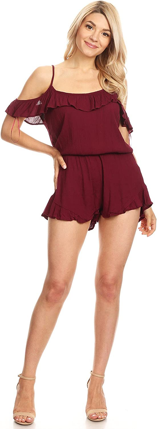 Ambiance Apparel Women's Junior Cold Shoulder Relaxed Spaghetti Strap Romper