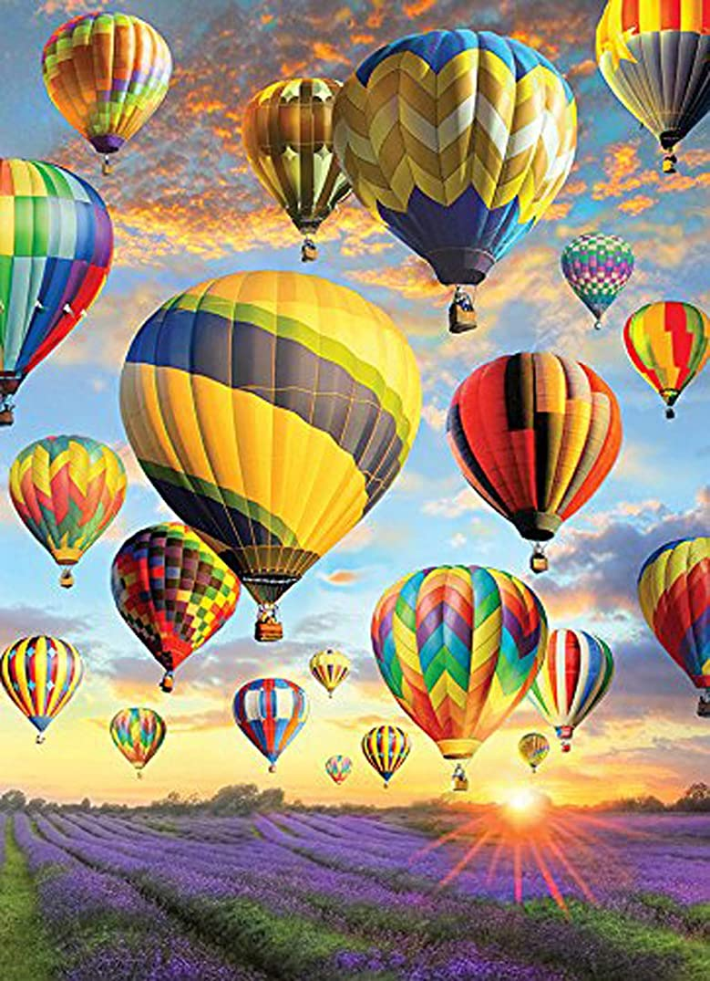 DIY Handwork Store 5D Handmade Diamond Painting Kit by Numbers Colorful Hot Air Balloon Cross Stitch Mosaic Picture Velvet Canvas Arts Crafts Gift Sewing Kits Embroidery Home Decoration(9.8