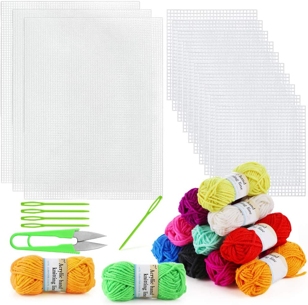 Pllieay 33 Pieces OFFicial Manufacturer OFFicial shop store Mesh Plastic Canvas Sheets 15 Pi Including Kit