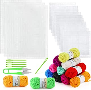 Pllieay 33 Pieces Plastic Mesh Canvas Sheets Kit Including 15 Pieces Clear Plastic Canvas, 12 Color Acrylic Yarn and Embro...