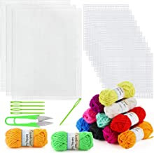Pllieay 33 Pieces Mesh Plastic Canvas Sheets Kit Including 15 Pieces Clear Plastic Canvas, 12 Color Acrylic Yarn and Embro...