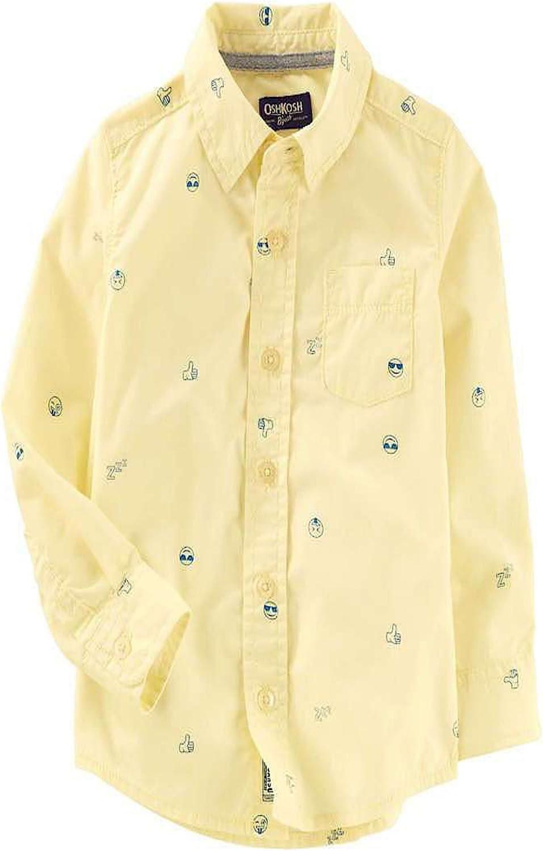 OshKosh Ranking TOP11 Boys' Button Front 6 Special sale item Yellow Shirt Emoji