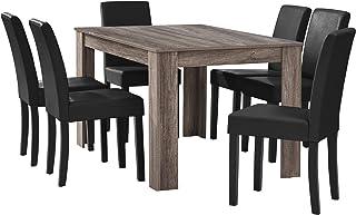 [en.casa] Table à Manger en chêne Ancien avec 6 chaises Noir Cuir-synthétique rembourré 140x90