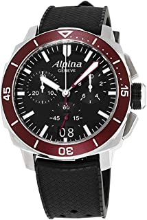 Alpina Seastrong Black Dial Silicone Strap Men's Watch AL-372BLBBRG4V6
