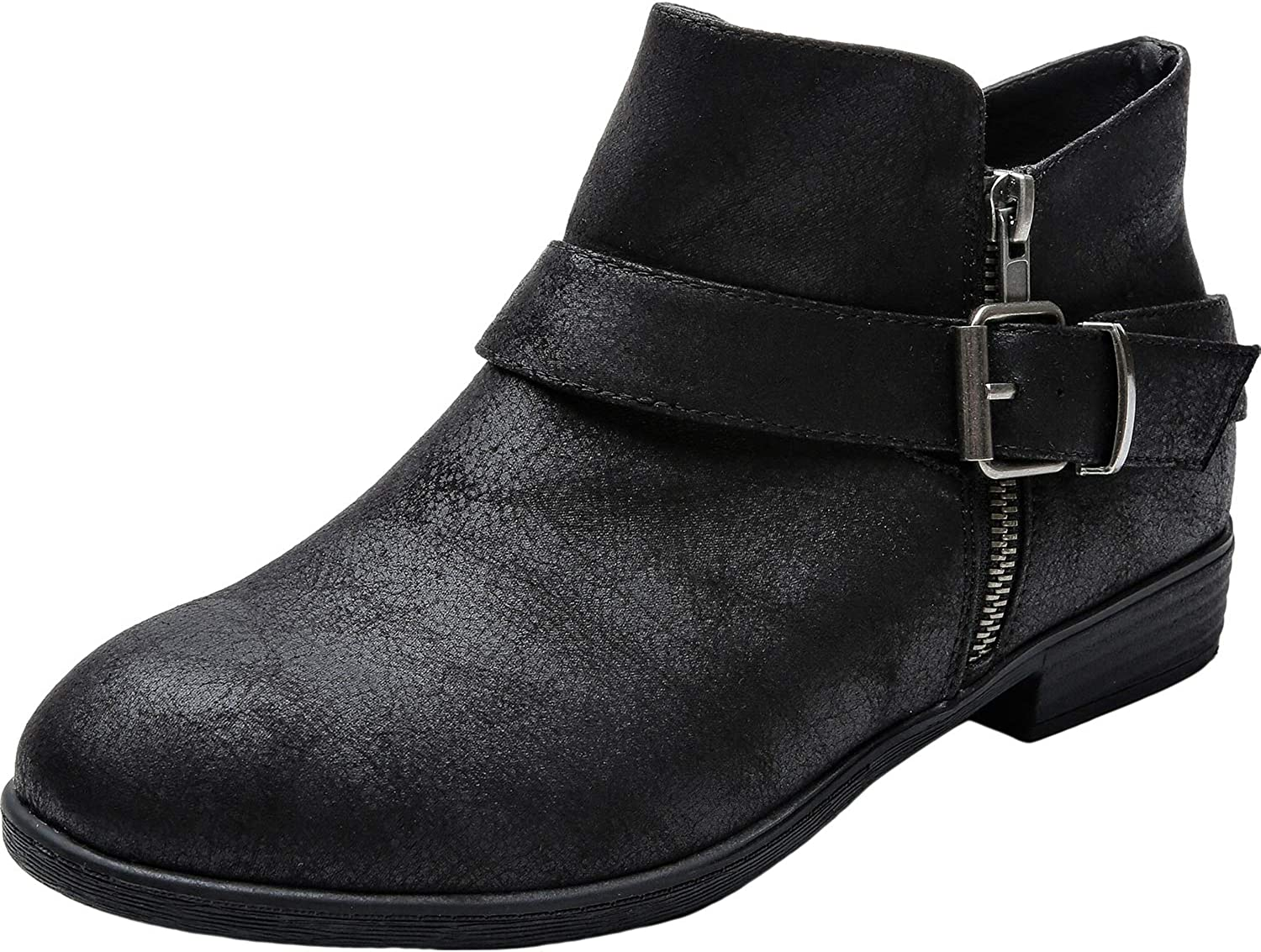 Luoika Women's Los Angeles Mall Wide Width Ankle Low Heel Boots Side Nippon regular agency Extra