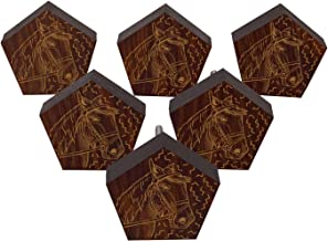 IBA Indianbeautifulart Bruine Gegraveerde Knoppen 10 Pc Meubilair Houten Scallop Knoppen Rustieke Lade Trek