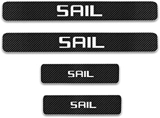 for Chevrolet SAIL Door Sill Protector Reflective 4D Carbon Fiber Sticker Door Entry Guard Door Sill Scuff Plate Stickers Auto Accessories 4Pcs White