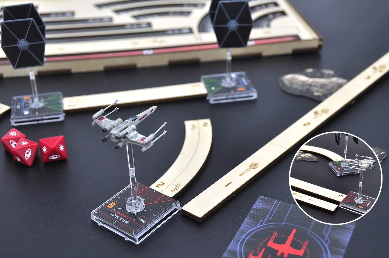 Star Wars X-Wing plantillas de movimiento con bandeja de madera cortada con láser maniobra y juego de reglas de rango compatible con 2.0 X Wing Miniatures Game: Amazon.es: Hogar