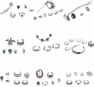 Vintage Cuff Earrings Set for Men Women Antique Silver Ear Crawler Ear Climber Charm Punk Clip On Stud Earrings Tribal Ear Wrap Jewelry