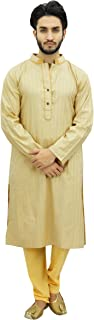 Men's Kurta Pyjama Set Long Cotton Tunic Shirt Ethnic Wear