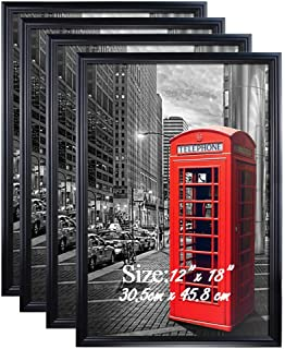 ee9e97267f96 PETAFLOP 12x18 Frame Black Poster Frame 12x18 Hanging Picture Frames for 12  x 18 Inch Print