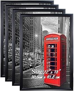 PETAFLOP 12x18 Frame Black Poster Frame 12x18 Hanging Picture Frames for 12 x 18 Inch Print, Set of 4