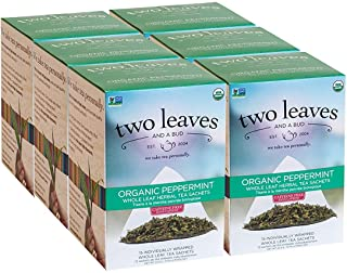 Two Leaves and a Bud Organic Peppermint Herbal Tea Bags, Naturally Caffeine Free, Whole Leaf Peppermint Tea in Sachets, 15...