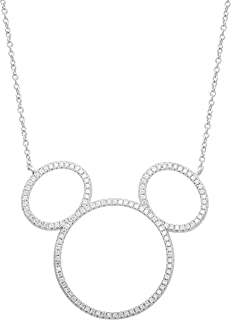 Disney Mickey Mouse Jewelry, Sterling Silver Cubic Zirconia Silhouette Necklace,