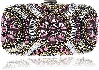 Redland Art Women's Fashion Mini Crystal Clutch Bag Wristlet Catching Purse Evening Handbag for Wedding Party (Color : Red)
