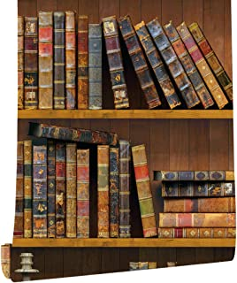 HaokHome 61023 Peel & Stick Faux Library Wallpaper Brown Multi Self Adhesive Contact Paper Wall Furniture Sticker