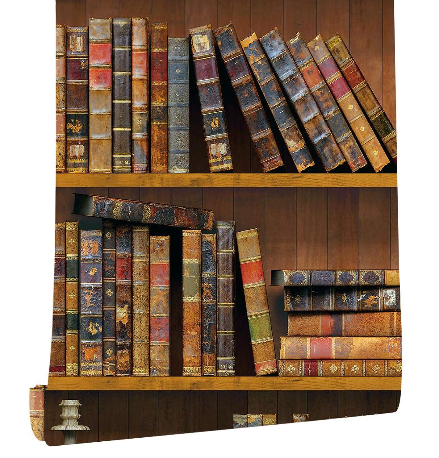 厚くする再発する然としたHaokHome 61023 アンティーク調 木棚 木目 壁紙3dシール45cmx6mのり付き 剥がせる 簡単 キッチン 本屋 リビングルームの装飾