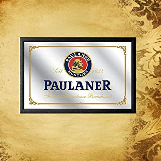 HNNT New Tin Sign Fashion Paulaner Beer Small Mirror Vintage