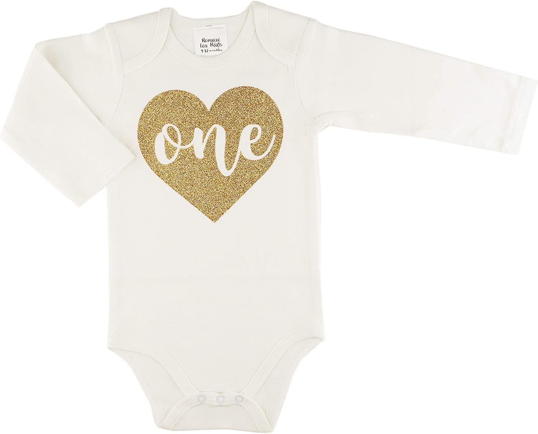 Romari for Kids One Max 46% OFF in Heart Glitter Girls Ba Bodysuit Baby Gold 1 year warranty