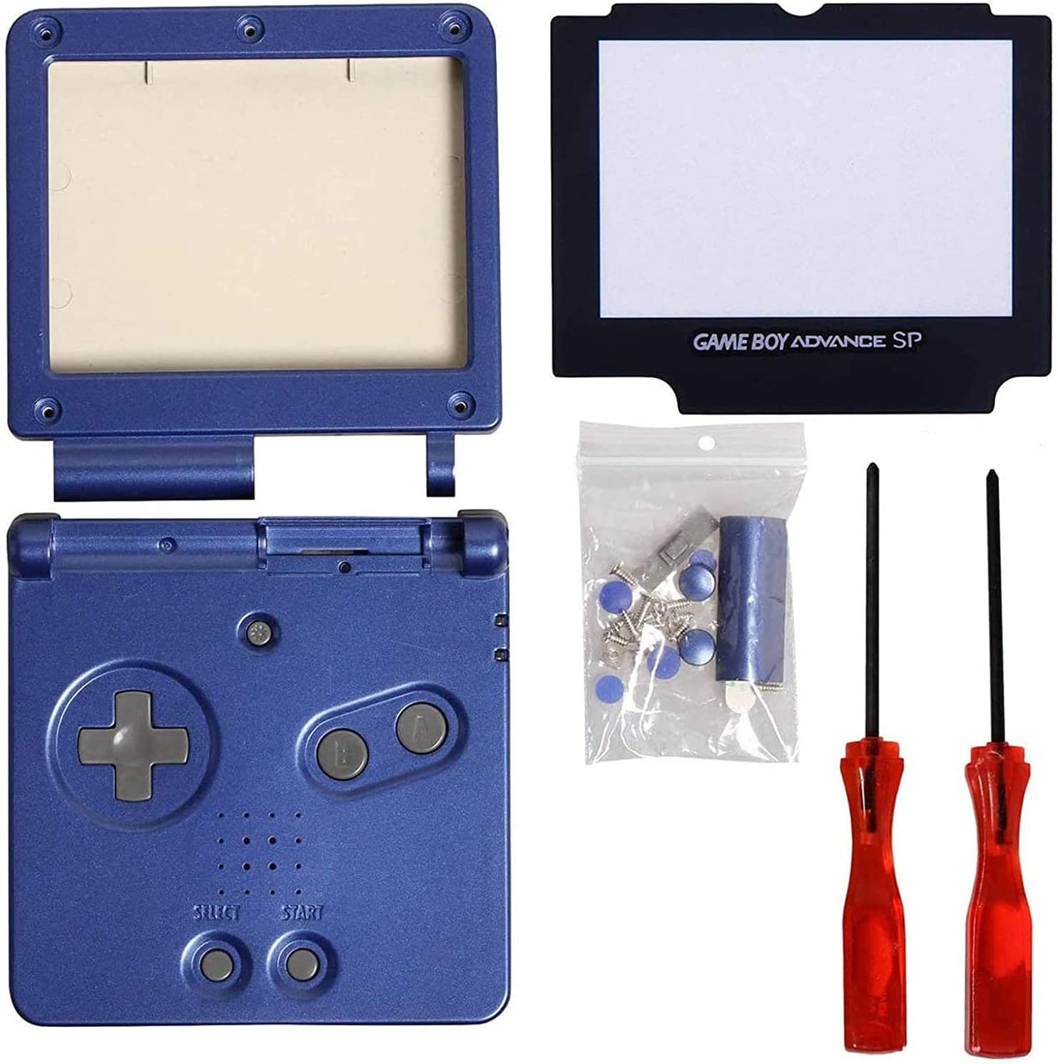 Timorn Shell Caso Completo de la Cubierta Cover + Protector de la Pantalla Parte + Tri-ala reparación + Cruz Destornillador para Gameboy Advance GBA (Paquete Azul)