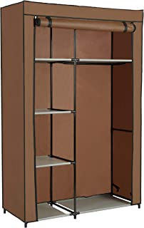 """Homebi Clothes Closet Portable Wardrobe Durable Clothes Storage Non-Woven Fabric Wardrobe Storage Organizer with Hanging Rod and 6 Shelves,41.73""""W x 17.72"""" D x 65.35""""H (Brown)"""