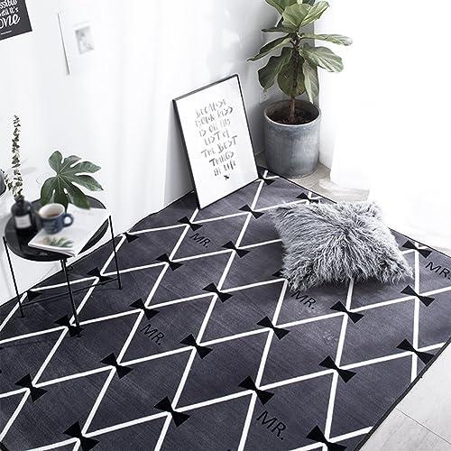 LiuJF Geometrie Teppich, SchwarzWeißmoderne Fu tte Wohnzimmer Sofa Schlafzimmer Teppich Rechteck Teppich L e 45-120cm   (Farbe   D, Größe   120  190CM)