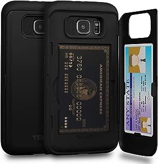 TORU CX PRO Galaxy S6 Wallet Case Black with Hidden Credit Card Holder ID Slot Hard Cover & Mirror for Samsung Galaxy S6 - Matte Black