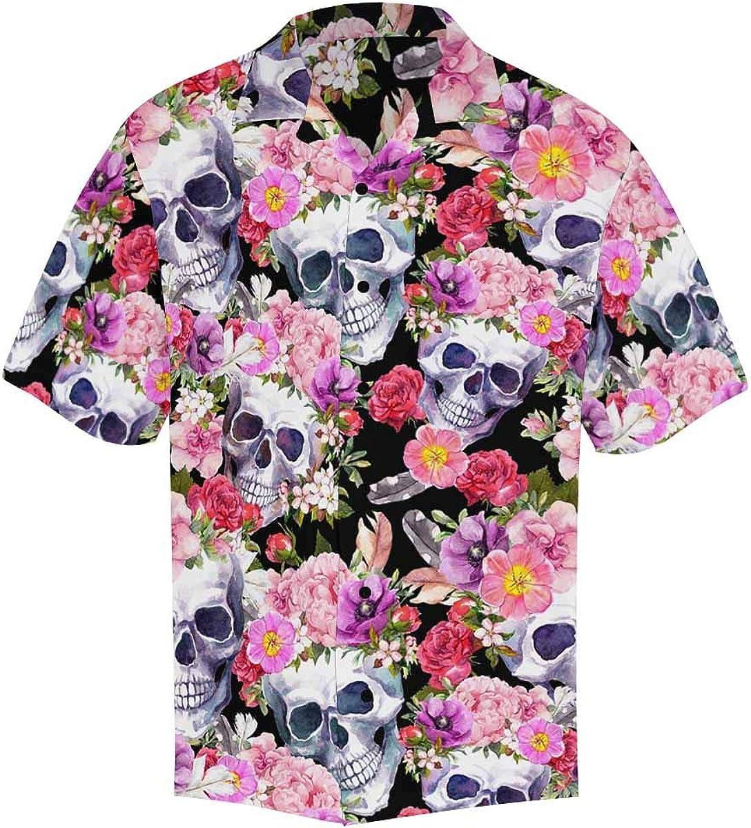 InterestPrint Men's Casual Button Down Short Sleeve Skull Florals Leaves Hawaiian Shirt (S-5XL)