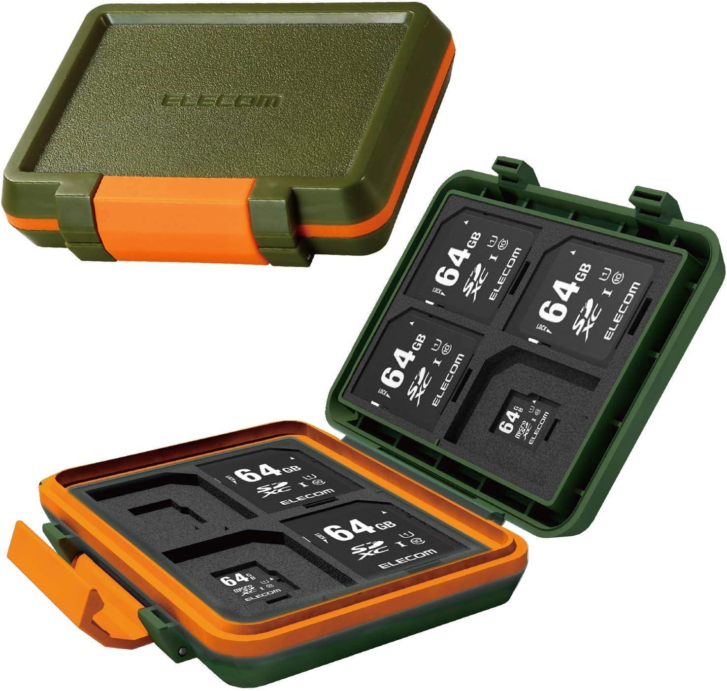 ELECOM Memory Card Case for 8 SD Cards and 8 microSD Cards, Shock-Resistant/Khaki/CMC-SDCHD01GN