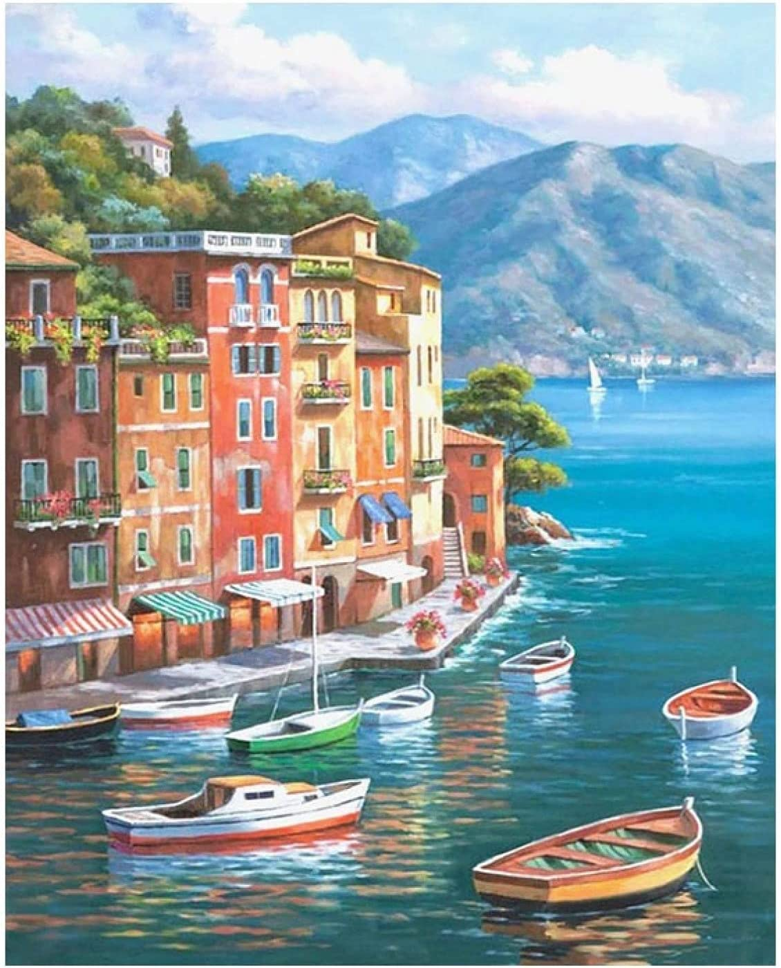 Landscape City SALENEW very popular! Painting by Number On DIY Frame with Craft Canvas Direct stock discount