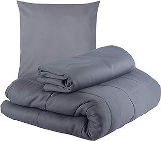 WIF7 Gewichtsdecke 150x200 cm schwere Bettdecke aus Baumwolle,Weighted Blanket beschwerte Decke Anti Stress 9 kg Therapiedecke mit Baumwoll Bezug Kuscheldecke Tagesdecke grau Sommer Bettwäche Set