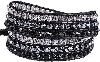 New! Crystal Wrap Bracelets for Women Girls Genuine Leather Adjustable Rhinestone Best Friend Cuff Bangle Beads Stones Nice Gift
