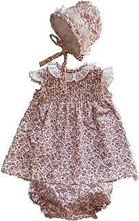 ZipiZape baby girl pink flowers dress, knicker and bonnet set