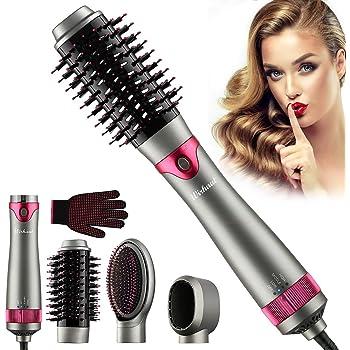 [2020 Upgrade] Wirhaut Hot Air Brush, Hair Dryer with Hair Volumizer Curler Straightener Styler Scalp Massager, 3 in 1 Negative Ionic Ceramic Electric Blow Brush for Women Hair Styling