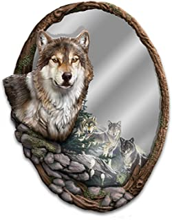 The Bradford Exchange Al Agnew Reflections of Nature Fully Sculpted Wolf Mirror
